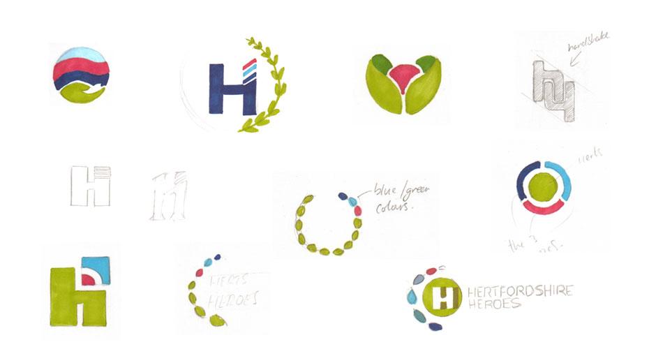 herts heroes logo design sketches