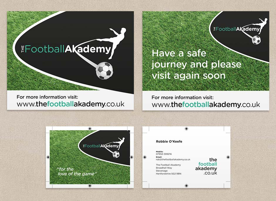 football akademy sign and business cards montage